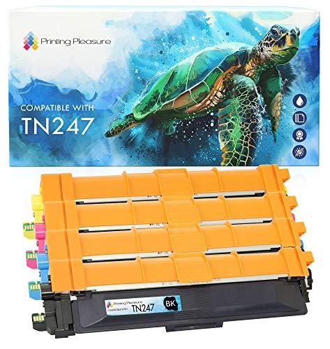 Printing Pleasure TN-247 TN247 4 Cartuchos de Tóner Compatible para Brother DCP-L3510CDW L3550CDW HL-L3210CW L3230CDW L3270CDW MFC-L3710CW L3730CDN L3750CDW L3770CDW | Negro/Cian/Magenta/Amarillo