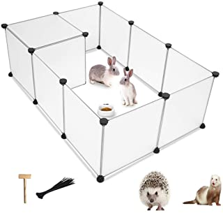 PINVNBY Small Pet Playpen Portable Resin Pet Yard Fence Puppy Crate Kennel for Dog Cat Kitten Rabbit Ferret Guinea Pig Bun...