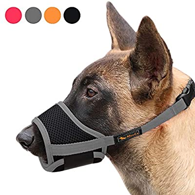 Heele Dog Muzzle Nylon Soft Muzzle Anti-Biting Barking Secure?Mesh Breathable Pets Mouth Cover for Small Medium Large Dogs 4 Colors 4 Sizes (L, Gray)