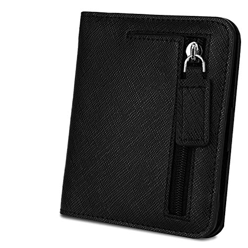 Geldbörse Damen YALUXE RFID Blockieren Dünne Brieftasche Damen Mini 7 Kartensteckplätze ID Fenster Äußere Reißverschluss Münzfach Schwarzes Kreuz Muster