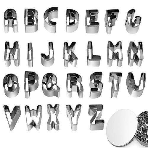 26pcs Alphabet Cookie Cutters Set Small Stainless Steel Letter Molds for Baking, Pastry, Fondant, Donuts Biscuit, Fruit, Cake Decorating Tools