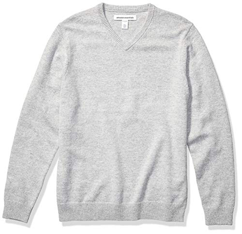 Amazon Essentials Men's Midweight V-Neck Sweater, Light Grey Heather, Large