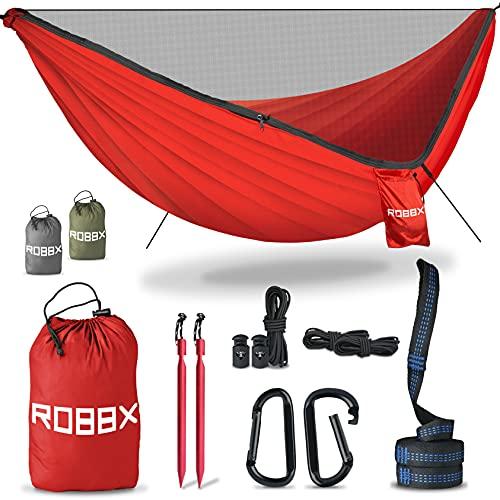 ROBBX® Hängematte Outdoor mit Moskitonetz für 2 Personen | 300kg Traglast | Doppelhängematte mit Befestigungs-Set | Nylon Camping Reisehängematte | 290x140cm