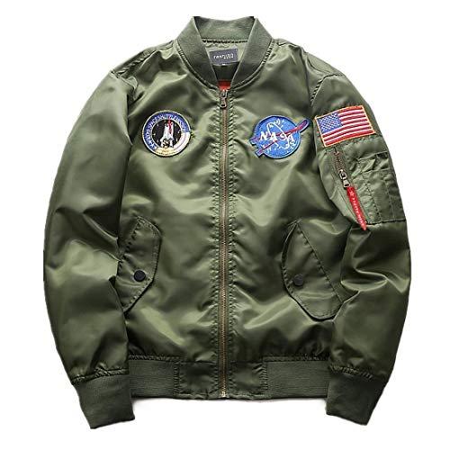 Anaisy Herren NASA Motiv Stickerei Flug Mantel Stepp Langarm Bomberjacke Stehkragen Oberbekleidung Pilotenjacke Jungen (Color : Hellgrün,...