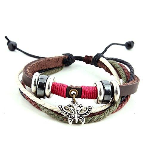 Morella Damen Armband aus Leder mit Ringen und Schmetterling Anhänger