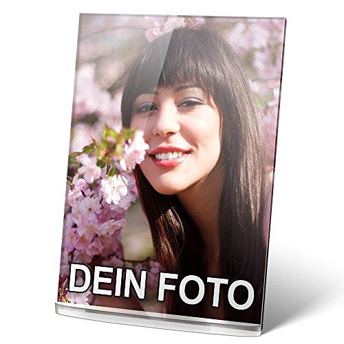 PhotoFancy® - Acryl Glas mit Foto bedrucken - Acrylglas personalisieren - Foto-Aufsteller mit eigenem Motiv selbst gestalten (12 x 17 cm)