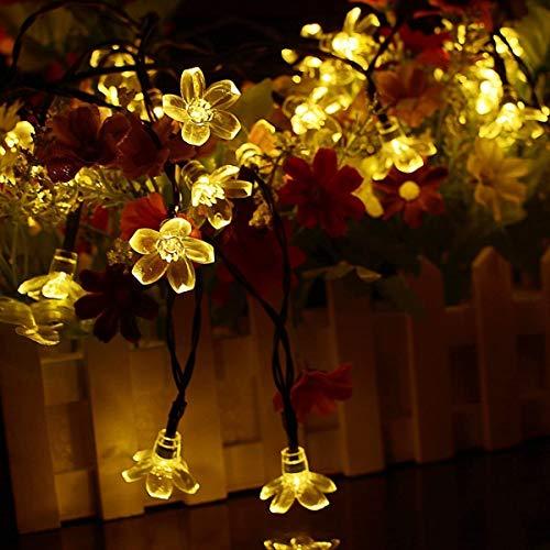 Berocia Wetterfeste LED Lichterkette Warmweiss Solar Außen mit batterie, 7 Meter 50 LED Pfirsichblüte 2 Modi Weihnachtsbeleuchtung für Haus, Garten, Rasen, Weihnachten, Hochzeit und Urlaub Dekoration