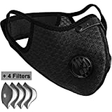 Pioneeryao Sport Dust Mask Cycling Running Outdoor Face Mask Starter Training Mask Dustproof Carbon Filtration Workout Running Motorcycle Cycling Mask (Black_A + 4 Filters)