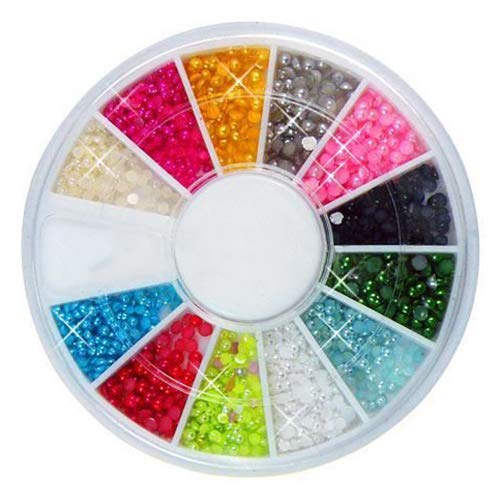 Brussels08 Lot de 3 boîtes de 1500 perles multicolores 3D à dos plat demi-rondes imitation perles pour ongles