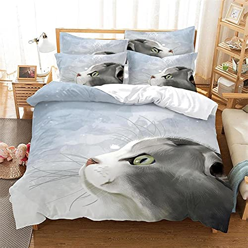 Fundas Nordicos 260X240Cm Gato Animal Fundas para Edredón,3 Piezas Bedding Juego de Funda de Edredón - Microfibra Funda de Nórdica y 2 Fundas de Almohada 50 X 75 Cm