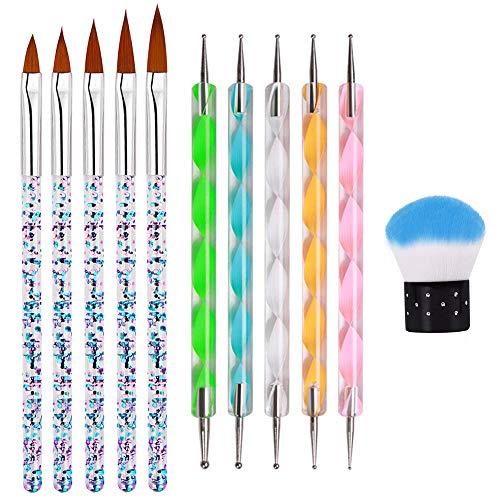 11 Stück Acryl Nagelbürsten Set, Kalolary Nail Art Malerei Design Pinsel Nagel Punktierstifte für Gel Nagel Falsche Spitzen Design Malerei Detaillierung