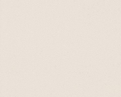 A.S. Création behang Caramello, Unitbehang effen grijs, wit