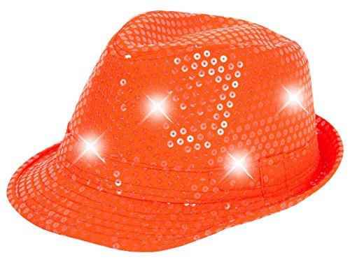 Alsino Pailetten LED Clubstyle Partyhut Trilby Pailletten Hut Blink Fedora Bogart Glitzerhut Glitter, Farbe wählen:TH-52 neon orange