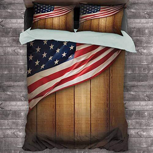 Toopeek - Juego de 3 fundas de edredón y 2 fundas de almohada (1 funda de edredón y 2 fundas de almohada), diseño de Estados Unidos sobre una parte trasera rústica de madera retro, color azul y rojo