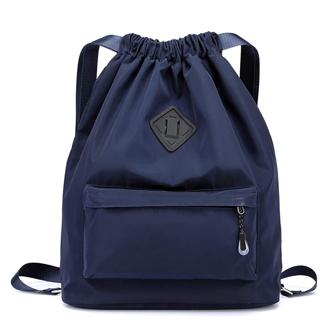 Lightweight Athletic Drawstring Bag Waterproof Sport Workout Pull String Backpack-Navy