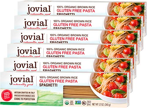 Jovial Spaghetti Gluten-Free Pasta | Whole Grain Brown Rice Spaghetti Pasta | Non-GMO | Lower Carb | Kosher | USDA Certified Organic | Made in Italy | 12 oz (6 Pack)