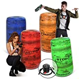 ArmoGear Inflatable Battle Barrels | Team Colored Inflatable Battle Zones | Red, Blue, Green, & Orange | Pump Included | Compatible with Nerf, Laser X, Water Blasters, Paintball Etc.!