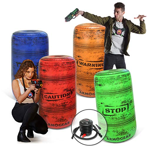 ArmoGear Inflatable Battle Barrels 4pc Set with Pump | Nerf Gun Accessories for Nerf Party War | Inflatable Bunker Set Toy Compatible with Nerf, Laser X, Water Guns | Nerf Battle Obstacles