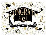 AIIKES 7x5FT 2021 Fondo de fotografía de Ceremonia de graduación Felicitaciones Decoración de graduación Banner de Retrato de graduación Decoración de Mesa de Pastel Selfie Photo Props 12-039