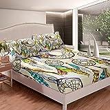 Loussiesd Juego de sábanas de atrapasueños, estilo bohemio, juego de cama estilo bohemio, para niños, adultos, funda de cama de plumas de lujo ultra suave, decoración de habitación individual