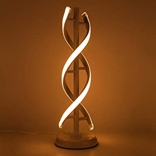 ELINKUME Double Spiral LED Table Lamp, Creative Double Helix Lampbody matchs Metal Base, 12W Warm White Eye-Caring Dimmable LED Bedside Lamp Decorative Lighting - White