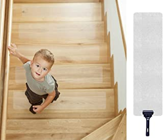 "30""x 6"" Non-Slip Stair Treads Tape (15-Pack) - Tingpo Pre-Cut Clear Anti-Slip Safety Indoor Strips with Roller for Stair Treads, Floors, Steps Supplies"