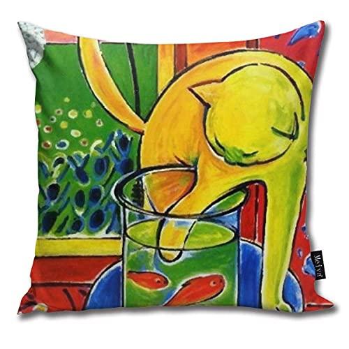 Funda de almohada Henri Matisse, Le Chat Aux Poissons Rouges 1914 (El gato con peces rojos), obra de arte, hombres, mujeres, juvenil, funda de almohada decorativa cuadrada de 45,7 x 45,7 cm