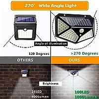 ソーラーライト 防水ソーラーランプライト100LEDソーラーパワーモーションセンサーライト屋外ガーデンウォールパスウェイ照明 AiHua Huang