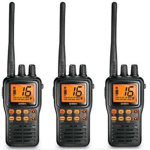 Uniden MHS75 JIS8 Waterproof Two Way VHF Marine Radio ( 3 Pack )