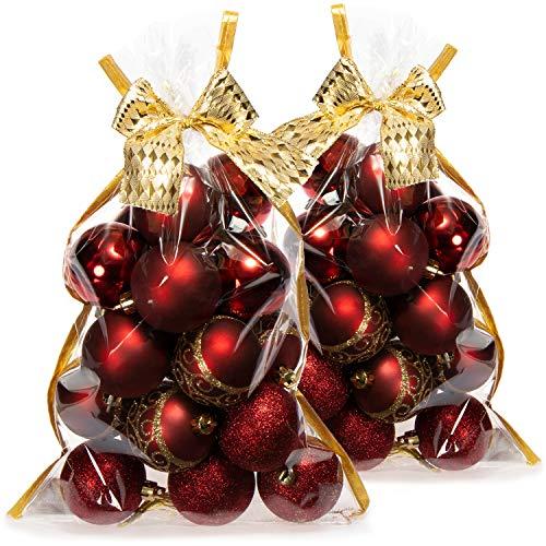 com-four 40x Palline di Natale, Palline di plastica per Natale, Decorazioni per Alberi di Natale con Pendente, Ø 6 cm