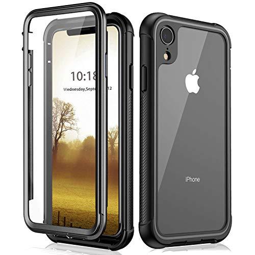 BESINPO iPhone XR Hülle, Handyhülle iPhone XR, Transparent Hülle 360 Grad Rundumschutz Schutz mit Eingebautem Displayschutz Outdoor Cover Handyhülle Schutzhülle Case für iPhone XR (Schwarz)