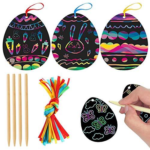 Yisscen Papel Art de Rascar, Huevos de Pascua Dibujo Scratch Scratch Art para niños Usado para Decoraciones de Pascua Lápices de Madera y Cinta Bricolaje Rainbow Rascar Manualidades 60Pcs