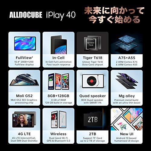 [2021NEWモデル]ALLDOCUBEタブレット10.4インチiPlay40Android10.0RAM8GB/ROM128GB8コアCPU4GLTEモデルタブレットPC2000x1200IPSディスプレイType-C+Bluetooth5.0+GPS+デュアルWiFi+6000mAh+最大のサポート2TBTF拡張