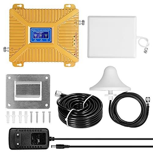 skrskr Amplificador 900/1800/2100 GSM DCS WCDMA 2G / 3G / 4G LTE Amplificadores de señal universales Kit de repetidores inteligentes Amplificadores de señal de teléfono móvil para uso doméstico