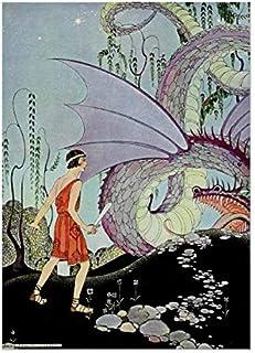 Cadmus and the Dragon av Virginia Sterrett affisch, väggkonstbilder för heminredning utan ram 30 x 50 cm