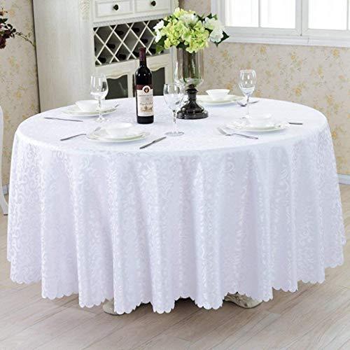Ronda de damasco Jacquard Manteles, sólido de color poliéster Mantel a prueba de derrames Cubierta de mesa for el restaurante de boda Protector de mesa ( Color : White , Size : Squre 120x160cm )