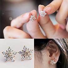 Sweet Rose Gold Crystal Snowflake Rhinestone Stud Earrings Women's Jewelry Gift