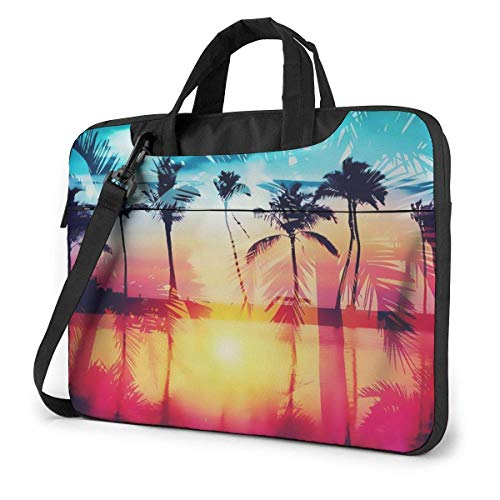 Sunset with Palm Trees Laptop Bag Shockproof Briefcase Tablet Carry Handbag for Business Trip Office 15.6 inch