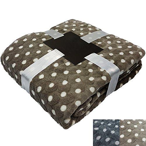 PROHEIM Kuscheldecke Dot-Heart 150 x 200 cm Microfaser Tages-Decke Premium Wohn-Decke mit 3D Herzstruktur & Punkte-Muster, Farbe:Creme