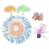 Planta De Coral Artificial con Efecto Brillante, Planta De Mar De Coral De Silicona Suave, Adorno De Decoración De Peces Falsos para Pecera, Acuario