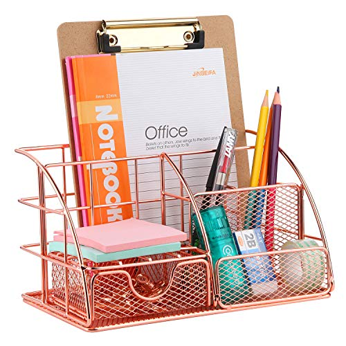 Rose Gold Desk Organizer with 6pcs Metal Paper Clips, FBve All in One Metal Desktop Organizer - Pen, Memo, Business Card, Paper Office Organizer for Office Supplies and Desk Accessories