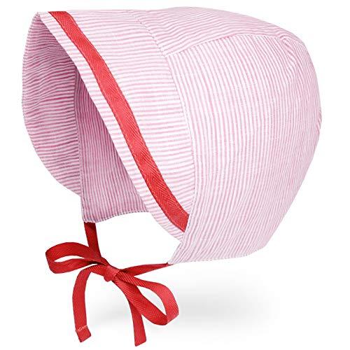 JELLYTREE Baby Hat Brimmed Bonnet Summer Breathable Double Gauze (Cotton) Toddler Hat Infant Boys Girls Beanie Cap, Sailor Red, L