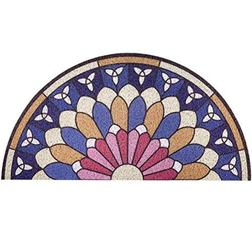 Chrasy Semicircolare Zerbino Zerbino Antiscivolo Mezzaluna Porta D'ingresso Materiale in PVC Tappeti per Interni ed Esterni per Porta d'ingresso - 40x80cm