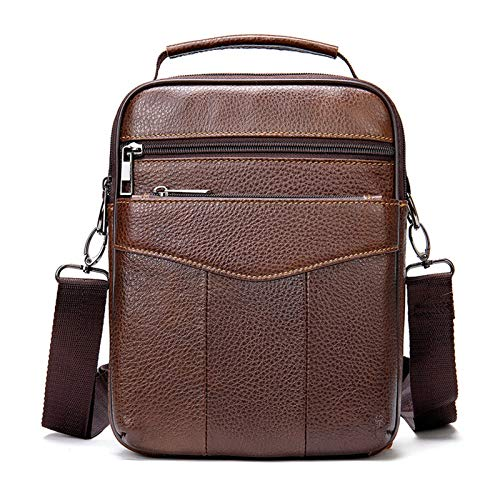 Bolso de hombro pequeño para hombre, bandolera de piel auténtica, bolso de hombro vertical, bolsa lateral para trabajo, viajes, viajes o viajeros, para trabajo