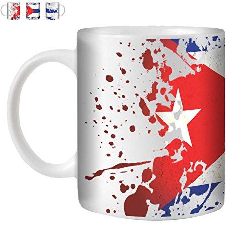 Stuff4 Tee/Kaffee Becher 350ml/Kuba/Flaggen der Welt Splat/Weißkeramik/ST10