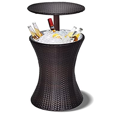 Giantex Adjustable Cool Bar Table Outdoor Patio Rattan Ice Cooler Party Deck Pool 1PC, Brown