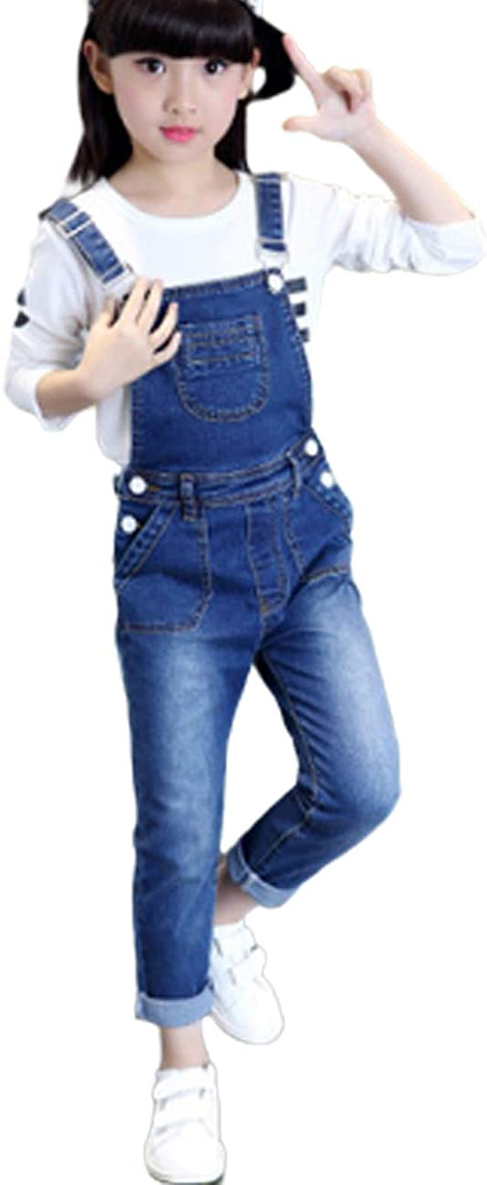 FLOWERKIDS Girls' Denim New arrival Bib Max 85% OFF Overalls Adorable Straps Adjustable