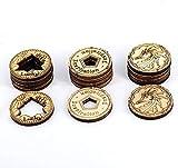 DND Tokens - Juego de 15 monedas de madera cortadas con láser en 3 estilos – Trébol de la suerte, inspiración y dragón, perfecto para mazmorras y dragones, Pathfinder, RPG y juego de mesa