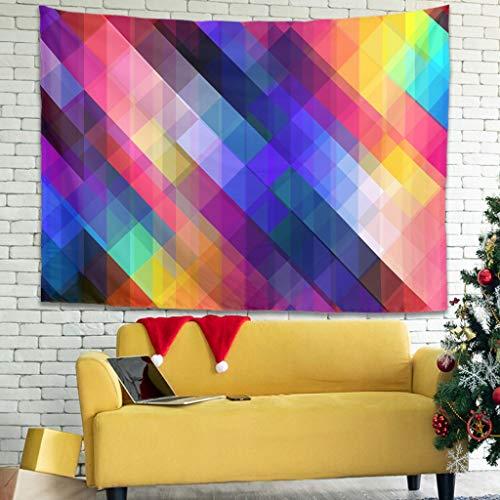 WellWellWell Tapiz de pared cuadrado con cuadrícula de colores, para cama de color blanco, 230 x 150 cm
