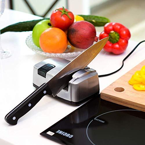 FEE-ZC Affilacoltelli elettrici da Cucina, affilacoltelli, Strumento Aiuta a Riparare, ripristinare, Lame polacche, meccanismo Caricato a Molla Perni in Ceramica Design in Acciaio Inossidabile